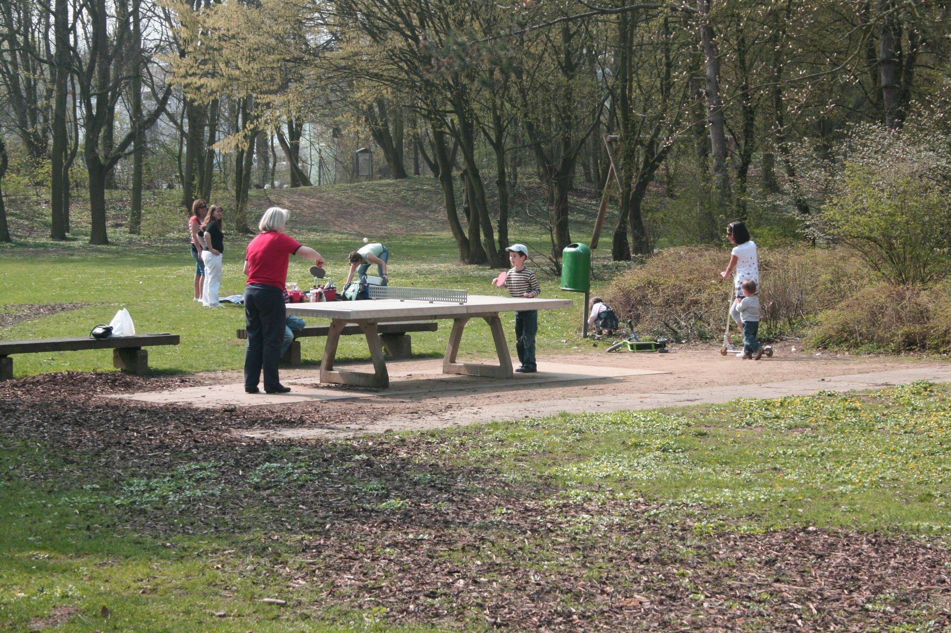 Pick-Nick im Freizeitpark. Im Vordergurund sind spielende Kinder an der Tischtennisplatte zu sehen.